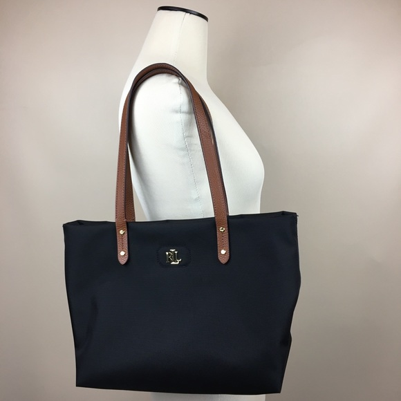 2a016668c2 Lauren Ralph Lauren Handbags - Ralph Lauren Bainbridge Black Nylon Shopper  Tote